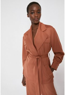 Rust Satin Utility Duster Jacket