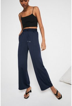 Navy Satin Elastic Waist Wide Leg