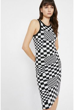 Mono Checkerboard Knit Dress
