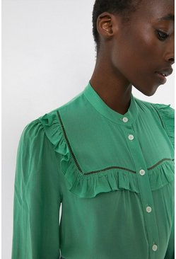 Green Shirt With Frill And Trim