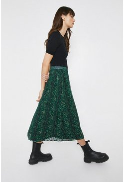 Green Pleated Skirt In Coloured Snake Print