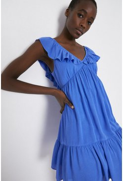 Blue Frill Detail Cheesecloth Mini Dress
