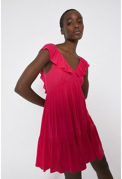 Pink Frill Detail Cheesecloth Mini Dress