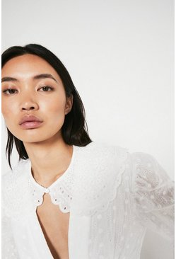 Ivory Scallop Detail Detachable Collar