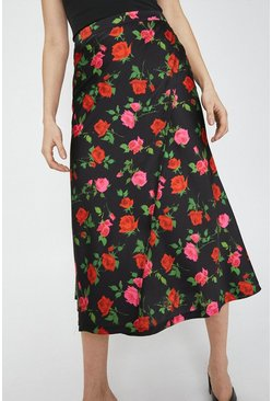 Multi Satin Wrap Skirt In Print