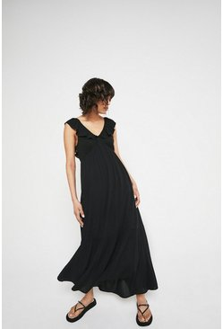 Black Frill Detail Cheesecloth Maxi Dress