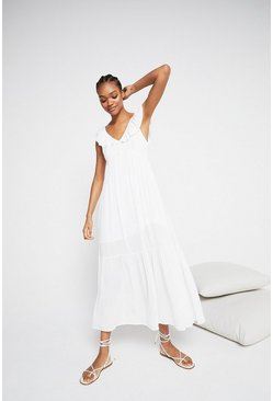 White Frill Detail Cheesecloth Maxi Dress