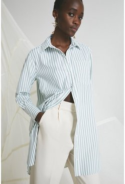 Green Longline Shirt In Stripe
