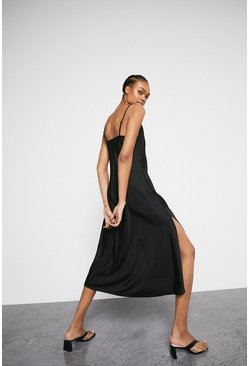 Black Cami Dress In Satin