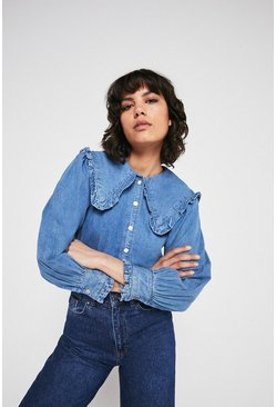 Light wash Chambray Frill Collar Detail Shirt