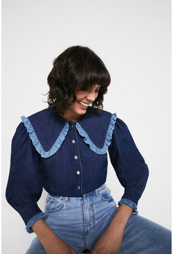 Mid wash Chambray Frill Collar Detail Shirt
