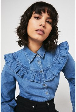 Light wash Chambray Frill Yoke Shirt