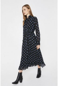 Black Printed Dress With Frill Neck
