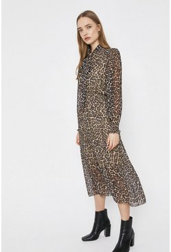 Midi Dress In Animal With Tie Neck