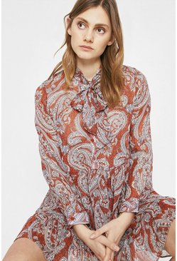 Red Tie Neck Dress In Paisley