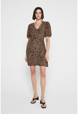 Animal Mini Dress With V Neck