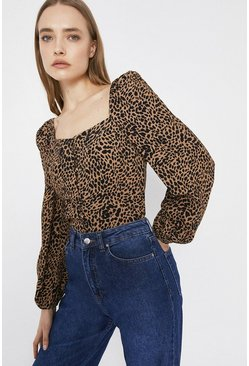 Animal  Square Neck Top