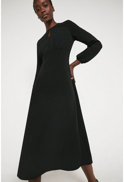 Black Midi Dress With Keyhole