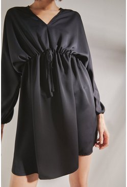 Black Mini Dress With Batwing