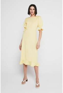 Lemon Pique Shirred Cuff Midi Dress