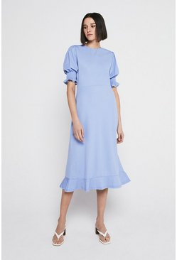 Light blue Pique Shirred Cuff Midi Dress