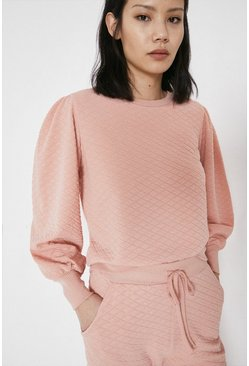 Pink Quilted Puff Sleeve Sweat