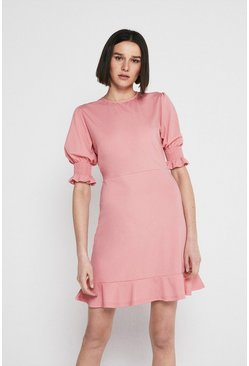 Pink Pique Shirred Cuff Short Dress