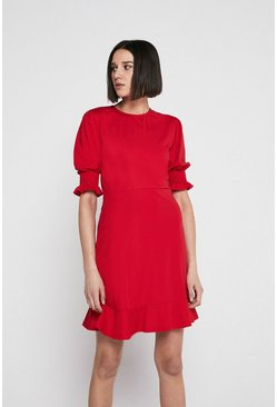 Red Pique Shirred Cuff Short Dress