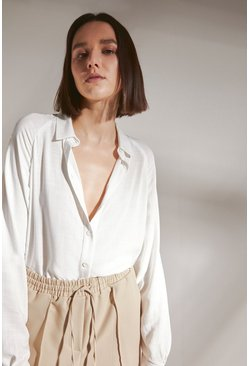 White Oversized Shirt With Batwing Sleeve