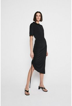 Black Premium Modal Ruched Polo Dress