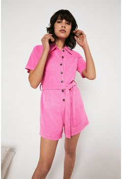 Candy pink Towelling Button Up Playsuit
