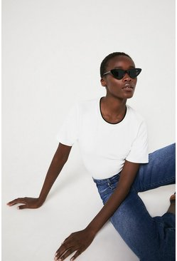 White Towelling Crew Neck Tee