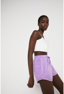 Purple Towelling Shorts