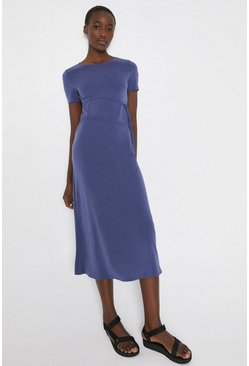 Blue Premium Modal Ruched Tie Waist Dress