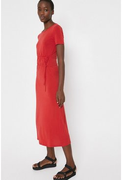 Light red Premium Modal Ruched Tie Waist Dress