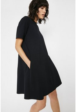 Black Organic Cotton Trapeze Short Dress