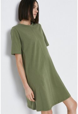 Khaki Organic Cotton Essential Trapeze Short Dress