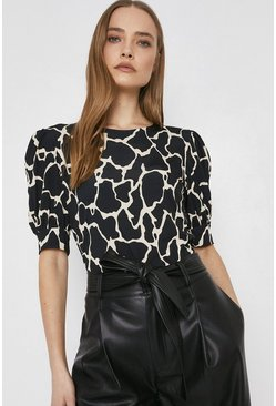 Blackwhite Printed Puff Short Sleeve Top