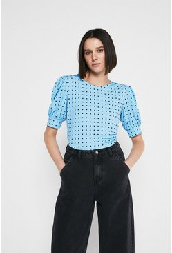 Light blue Printed Puff Short Sleeve Top