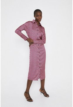 Pink Midi Shirt Dress In Geo Print