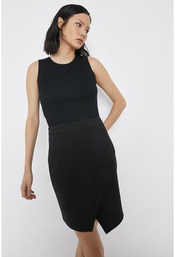 Black Asymmetric Wrap Pelmet Skirt