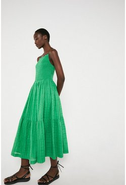 Green Smocked Bodice Cami Midi Dress