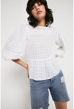 White Textured Pintuck Detail Blouse