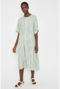 Green Smock Dress In Print