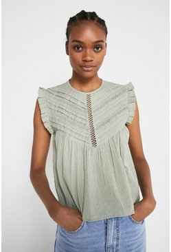 Pale green Pintuck Dobby Shell Top