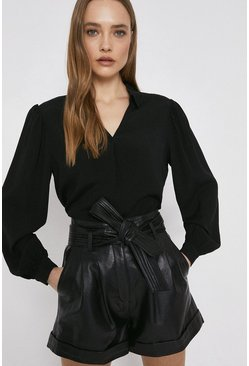 Black Blouse With V Neck