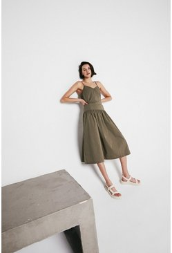 Khaki Cami Dress With Drop Waist