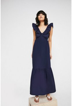 Navy Maxi Dress In Cotton With Frill