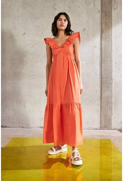 Orange Maxi Dress In Cotton With Frill