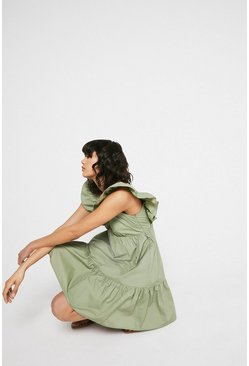 Khaki Mini Dress In Cotton With Frill
